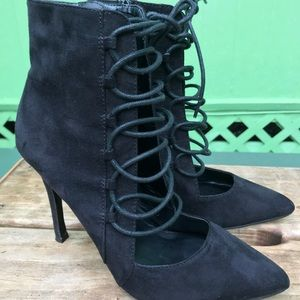 Aldo black lace up pointed toe heels